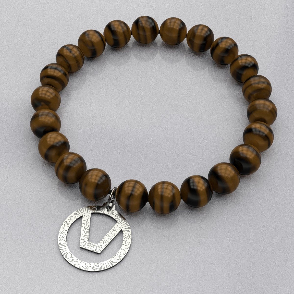 Stretchy natural bead Swinger Symbol bracelet